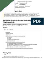 Audit de La Gouvernance de La Gestion de l'Information