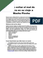 Cómo Evitar El Mal de Altura en Su Viaje a Machu Picchu