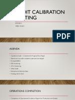 Audit Calibration Meeting Week 18 2019