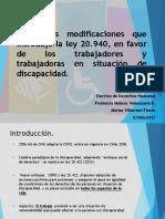 Principales modificaciones  ley 20.940, en favor de los trabajadores discapacidad..pptx