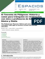 El Teorema de Pitágoras Historia y Casos Para Triangulos No Rectangulos