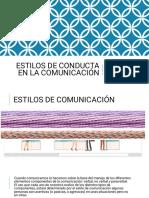 ESTILOS DE CONDUCTA EN LA COMUNICACIÓN