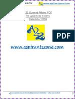A2Z December 2018 Current Affairs PDF