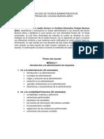 Plan de Estudio de Tecnica Administracio