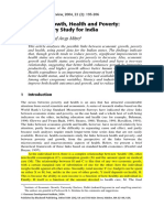 Economic Growth, Health and Poverty an Exploratory Study for India Indrani Gupta and Arup Mitra