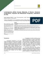 Contemporary Dental Ceramic Materials, A Review