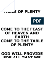 Entrance Song-table of Plenty