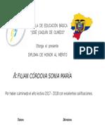 Diploma de Honor Ecuador