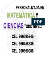 Asesoría Personalizada en Matemática y Ciencias Todo Nivel