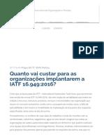 Quanto Vai Custar Para as Organizações Implantarem a IATF 16