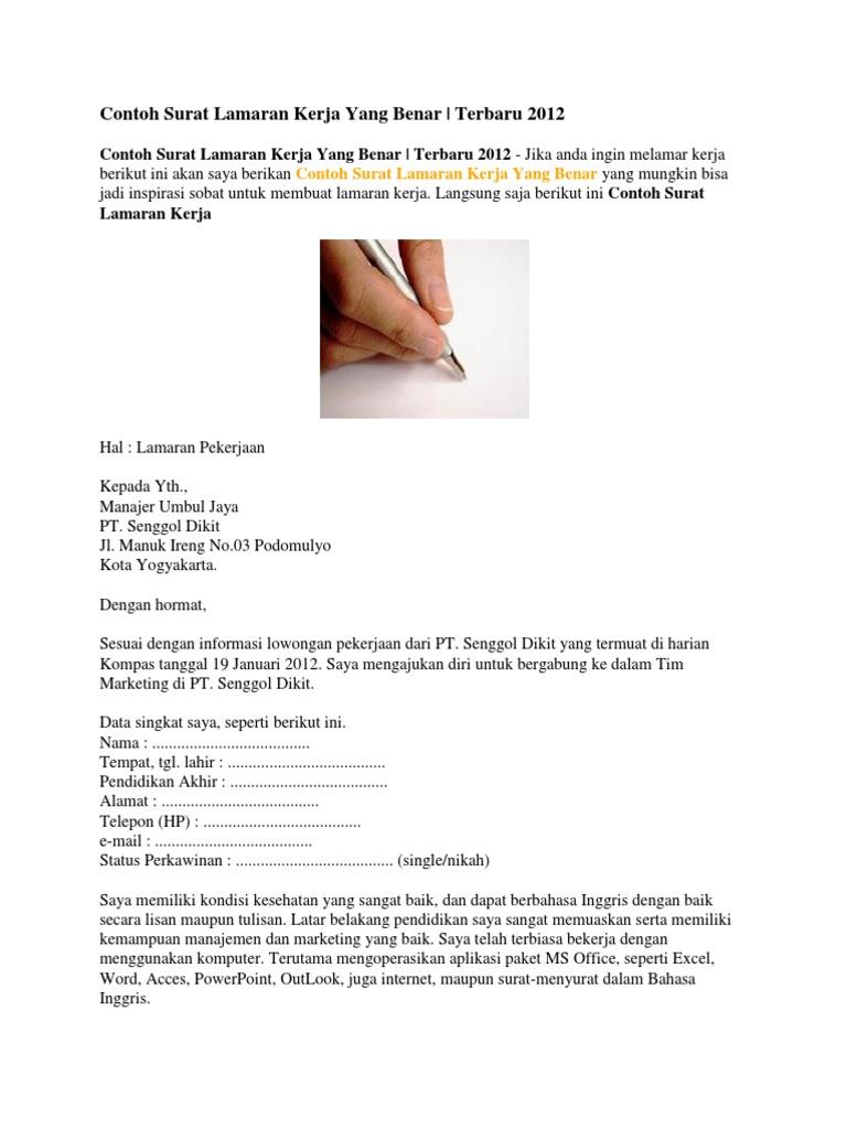 Contoh Surat Lamaran Kerja Koneksi Docx