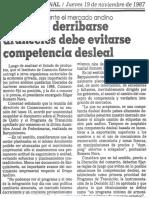 Consecomercio Ante El Mercado Andino Antes de Derribarse Aranceles Debe Evitarse Competencia Desleal - El Nacional 19.11.1987