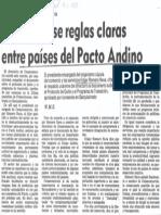 Edgard Romero Nava - Deben Fijarse Reglas Claras Entre Paises Del Pacto Andino - El Universal 19.11.1987