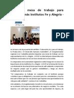 Proponen Mesa de Trabajo Para Impulsar Más Institutos Fe y Alegría