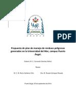 Propuesta de Plan de Manejo de Residuos Peligrosos Generados en La Umar, Campus Puerto Ã-ngel. Septiembre de 2014. v2