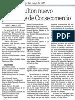 Roger Boulton Nuevo Presidente de Consecomercio - El Nacional 03.05.1987