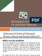 2013 Settlement of Estate