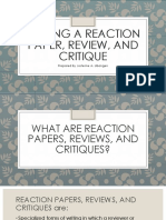 Writing a Reaction Paper, Review, And Critique