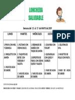 Menú Del 13 Al 17 de Mayo de 2019