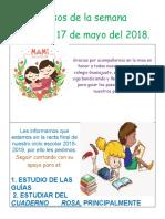 Avisos de La Semana Del 13 Al 17 de Mayo.