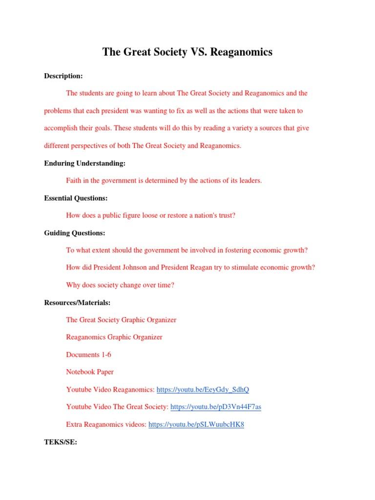 reaganomics essay questions