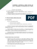 Criterios para organizar y distribuir el tiempo escolar