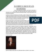La Teoría Sobre El Inicio de Los Asteroides