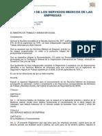 Reglamento de Los Servicios Medicos de Las Empresas Acuerdo 1404