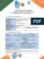 Guía de Actividades y Rúbrica de Evaluación - Fase 3 - Planificar Sistema de Gestión Ambiental
