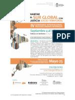 Segundo Llamado IV Seminario Internacional Habitar El SUR Global Con Justicia Socio-territorial 29042019