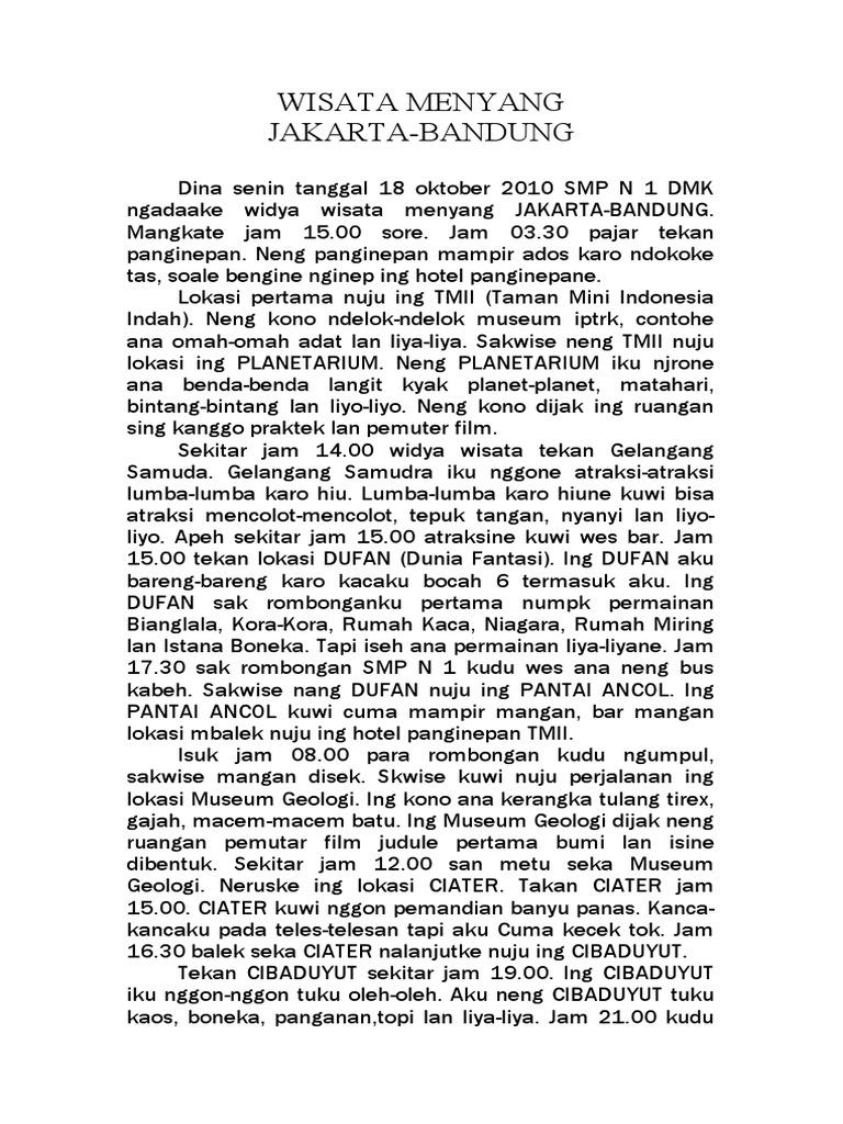 Contoh Laporan Wisata Bahasa Jawa