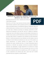 Mensaje Del Ministro General Para El Día Mundial Del Sida 2018 - Fray Michael a. Perry, OfM