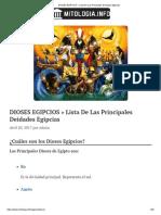 DIOSES EGIPCIOS » Lista de Las Principales Deidades Egipcias