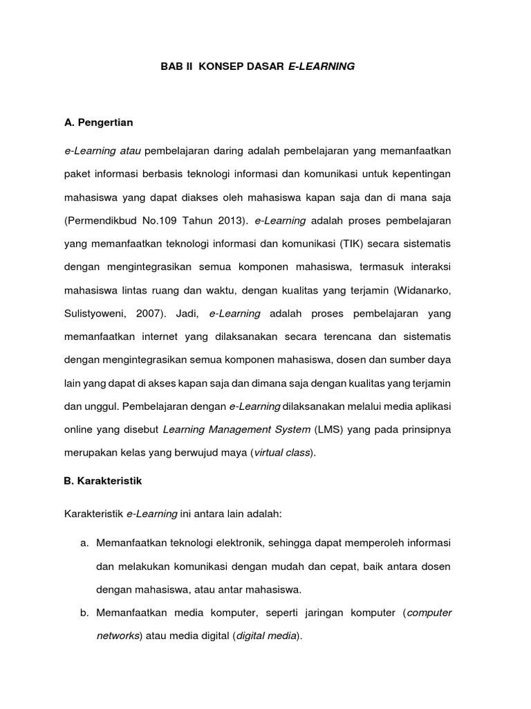 Bab Ii Konsep Dasar E Learning E Learning Atau Pembelajaran Daring Adalah Pembelajaran Yang Memanfaatkan