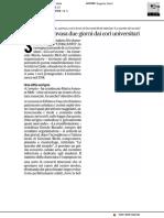 Urbino sarà invasa per due giorni dai cori universitari - Il Corriere Adriatico del 9 maggio 2019