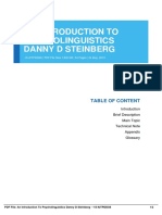 an introduction to psycholinguistics danny d steinberg