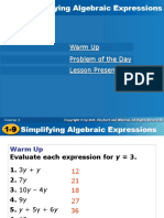 Simplifying Algebraic Expressions from HOLT.ppt