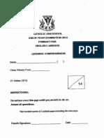P4 English SA2 2013 Catholic High Test Paper