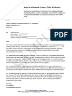 Sample Letter Requesting Personal Property Settlement