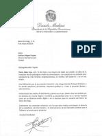 Carta de felicitación del presidente Danilo Medina por 18 aniversario del periódico Diario Libre