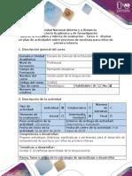 Guía de actividades y rúbrica de evaluación - Tarea 4 - Diseñar un plan de actividades de lectura y escritura para niños de primera infancia