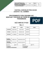 GCZ-18003-SLT-P-23 Proc. Ensamble, Montaje y Revision de Torre en LT.docx
