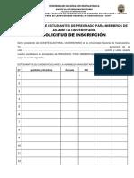 Solicitud de Inscripcion - 2019 Primer Proceso Electoral