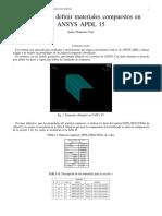 Manual para Definir Materiales Compuestos en ANSYS APDL 15