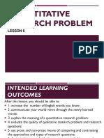 Lesson 6 Quantitative Research Problem