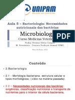 Aula 5 Necessidades Nutricionais Das Bactérias