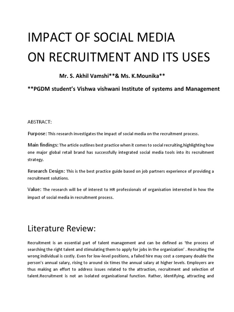 Impact Of Social Media On Recruitment Recruitment Digital Social Media