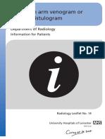 Radiology - Arm Venogram Vascular Fistulogram Edition 5 Leaflet Number 14- 8148113 - UHL Patient Information - Imaging