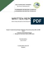 Written Report in Strategic management