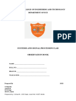 Signal and Systems Student Lab Observation Manual for B.E/B.Tech
